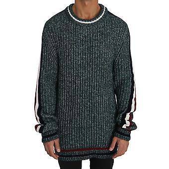 Dolce & Gabbana Green Knit Wool Crewneck Pullover Sweater TSH2732-48