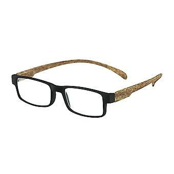 Reading Glasses Unisex Monkey Wood Black/Brown Strength +1.50 (le-0179A)