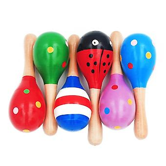 Infant & Toddlers Sand Hammer - Wooden Maraca Rattles Kids Musical Shaker Toy