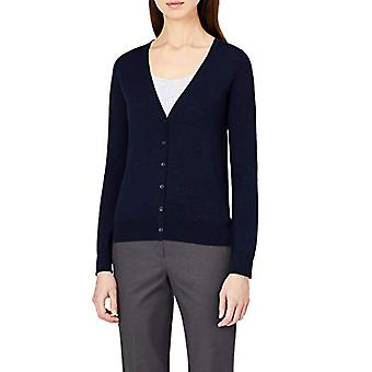 Meraki Women's Fine Merino Wool V-Neck Cardigan Tröja, Blå (marinblå), EU L (...