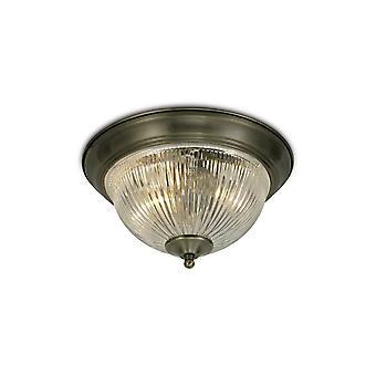 Inspiriert Deco - Macy - IP44 2 Licht E14 Flush Deckenleuchte, antik Messing mit klaren gerippten Glas