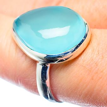 Aqua Chalcedony Ring Size 8.25 (925 Sterling Silver)  - Handmade Boho Vintage Jewelry RING26695