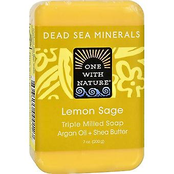 One With Nature Dead Sea Minerals Triple Milled Bar Soap Lemon Sage