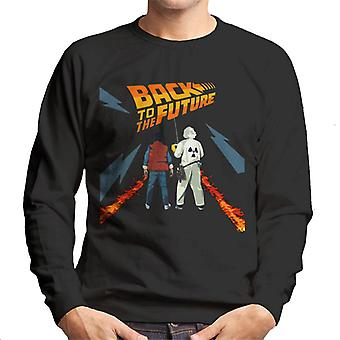 Back to the Future Delorean Fire Trail Marty And Doc Men's Sweatshirt