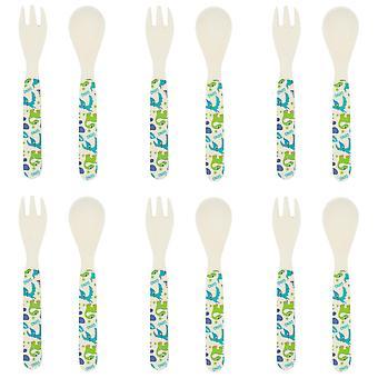 Tiny Dining Children's Bamboo Fibre Dining Fork & Spoon Cutlery Set - Dinosaur - Pack de 6