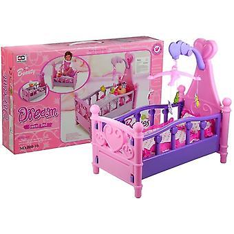 Grand lit de poupée avec carrousel et linge de maison