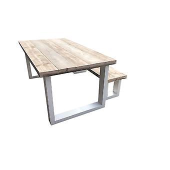Wood4you - New England kamideal Esstisch + Bank - 200Lx90Hx78D cm weiß