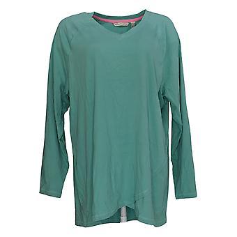 Isaac Mizrahi Live! Women's Top Long Sleeve Tulip Hemline Green A351123