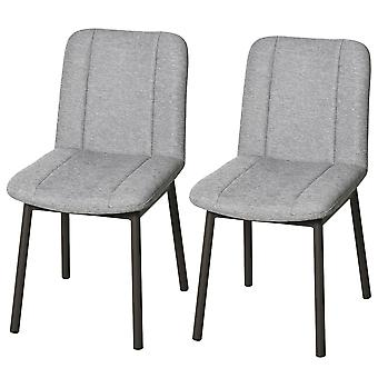 HOMCOM 2 Pieces Armless Mid Back Dining Chair Leisure Fabric Upholstered Padded Seat with Metal Legs for Living Room, Bedroom, Dorm, Office, Grey