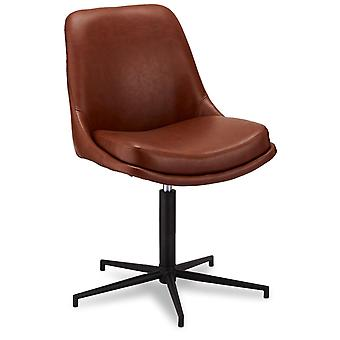 Ibbe Design Claudia Dining Chair Light Brown Faux Leather - Set of 2, 59x64x89 cm