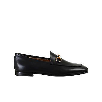 Gucci 404069blm001000 Frauen's Schwarzes Leder Loafers