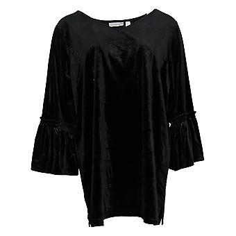Belle By Kim Gravel Women's Top Velvet V-Neck Ruffle Sleeve Black A344226