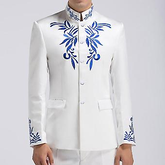 Style Floral Embroidery Patterns Mens Stand Collar Suit Jacket