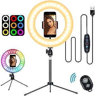 """Selfie Ring Light 10"""" with Tripod Stand & Flexible Phone Holder and Remote"""
