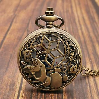 Classical Cartoon Retro Dog Wolf Pocket Watch Necklace Vintage Chain Clock