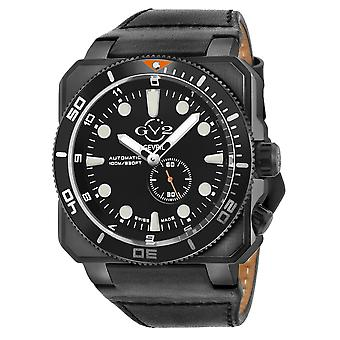 GV2 Automatic Men's XO Submarine Black Dial Black Case Black Calfskin Leather Watch