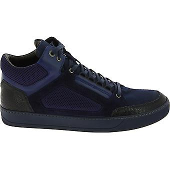 Lanvin Men's high top laced sneakers shoes in dark blue leather and fabric