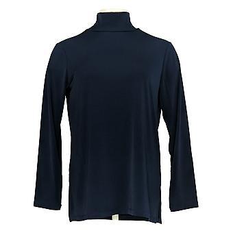 Susan Graver Femmes's Petite Top Essentials Mock Neck Tunic Blue A384257
