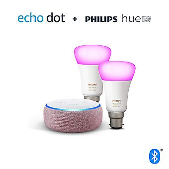 Echo dot (3rd gen), plum fabric + philips hue white & colour ambiance smart bulb twin pack led (b22)