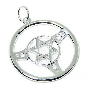 Star Of David In Steering Wheel Sterling Silver Charm .925 X 1 Jewish Charms - 8669