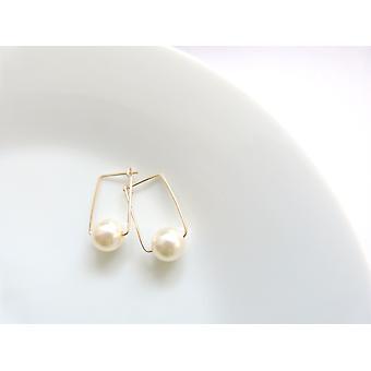 Pearl Square Hoop Earrings