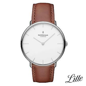Nordgreen Ladies Native Leather Silver 32mm Watch NR32SILEBRXX