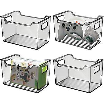 HanFei 4er-Set Aufbewahrungsbox mit Griffen – Allzweckkorb aus Kunststoff – Vielseitig