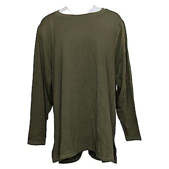 Zuda Women's Sweater Plus Z-Knit Pullover W/ Ruched Back Green A389263