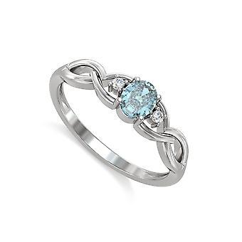 ADEN 925 Silver Aquamarine Diamonds Ring (id 5223)