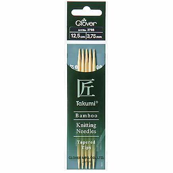 Pasadores de punto de trébol: Doble punta: Conjunto de cinco: Takumi Bambú: 12.5cm x 3.75mm