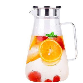 1800ml Karaffe Glas Krug Krug Bleifrei Borosilikatglas Wasserkocher mit Kristallgriff und Edelstahl