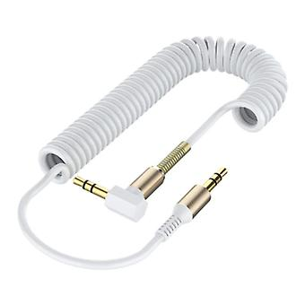 ABAY Coiled 3.5mm AUX Cable Gold-Plated Spiral Audio Jack 1.5 Meter - White