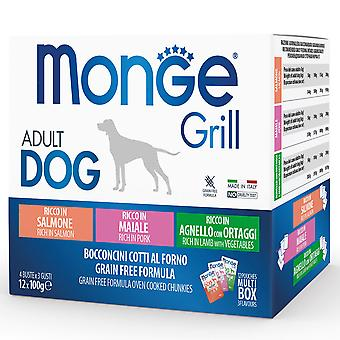 Monge Multi Pouches for Dogs Salmon/Pig/Lamb (Dogs , Dog Food , Wet Food)