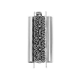Elegant Elements Beadslides, Seed Bead Slide Tube Clasp w/ Squiggle 24x10mm, 1 Set, Antiqued Silver
