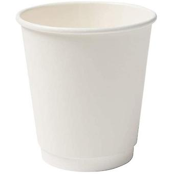 FengChun Karton Doppelwand Kaffee Trinkbecher Einweg Bio I 25 Stck to Go Pappbecher wei unbedruckt