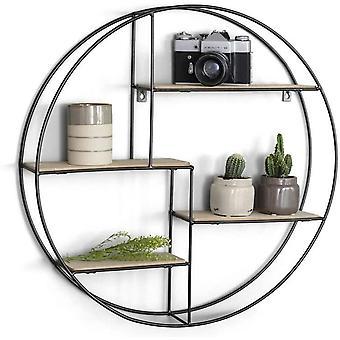 FengChun Rundes Wandregal modern aus Holz und schwarzem Metall, Gewrzregal im Industrie Design,