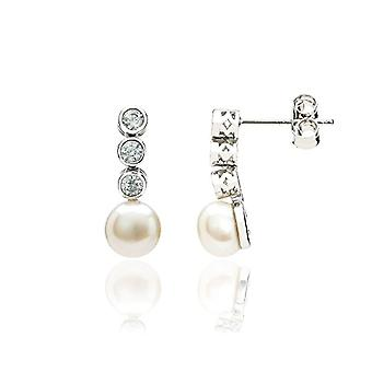 Eye Candy, sterling 925 rhodium silver women's earrings, with 2 pearls grown in fresh water, with 6 white zircons, Ref. 4045425027542