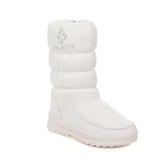 Flats Plush Fur Round Toe Mid-calf Winter Warm Platforms Casual Shoes