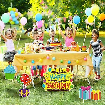 שלט יום הולדת שמח בחצר, מוצר יתד מפלסטיק, מדשאת מים בצד אחד,