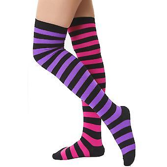 בגדי גישה פסים לא תואמים מעל הברך גרביים