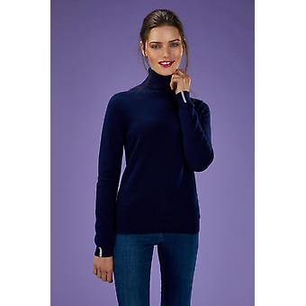 Loop Cashmere Polo Neck Sweater In Midnight