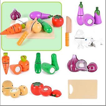 Vegetable wooden velcro fruit cutting play food simulation toys set for toddlers dt5560