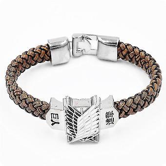 Angriff auf Titan Armband Flügel der Freiheit Leder gewebt Armband