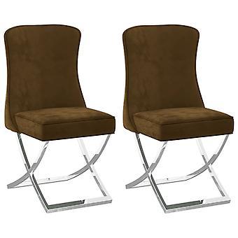 vidaXL dining chairs 2 pcs. brown 53x52x98 cm velvet