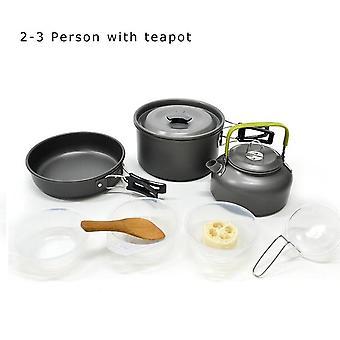 Desert fox outdoor tableware camping cookware pots set, lightweight mini aluminum folding pot set with storage sack, 1-4 person