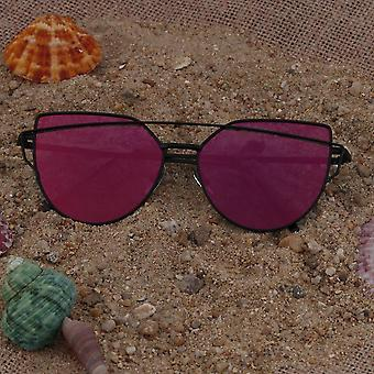 Reflective Uv Protective Cats Eye Ladies Sun-glass Star Style Summer Holiday