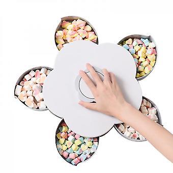 Petal Rotating Dried Fruit Plate Snacks Storage Tray(Gray)