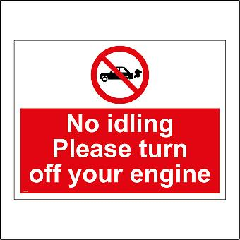 PR334 No Idling Turn Off Engine Sign with Circle Car Diagonal Red Line
