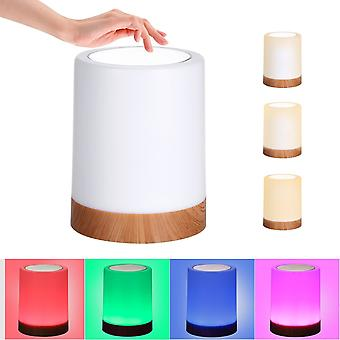 Usb rechargeable touching control bedside light dimmable table lamp warm white & rgb night light