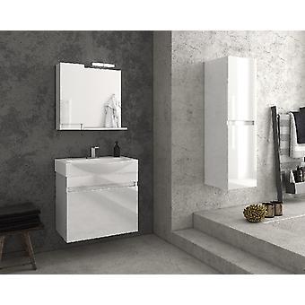 Set Mobili Senso , Colore Bianco in MDF, Ceramica, Vetro, Alluminio, ABS, Unita' Base con Lavabo: L65xP50xA50 cm